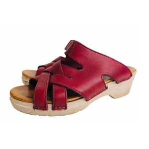 Vintage Dansko Sandals 70s Red Leather Platform 6